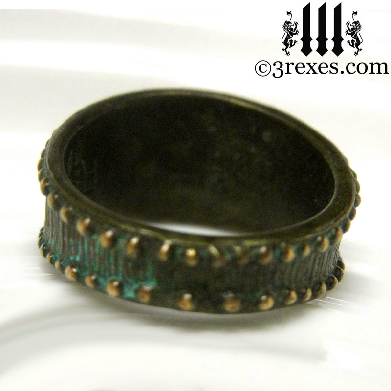 rustic bronze studded iron cross ring for men back view