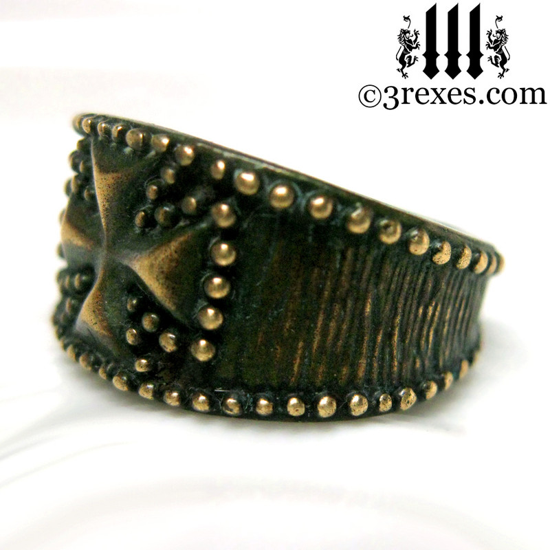 rustic bronze studded iron cross ring for men side view