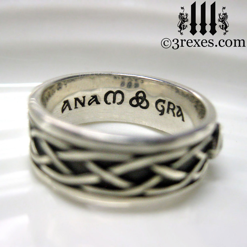 925 sterling silver celtic knot soul ring inscribed anam gra (soul love) mens medieval wedding ring