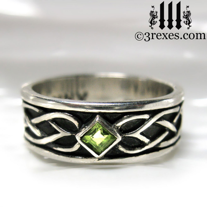925 sterling silver celtic knot soul ring with green peridot stone mens medieval wedding ring