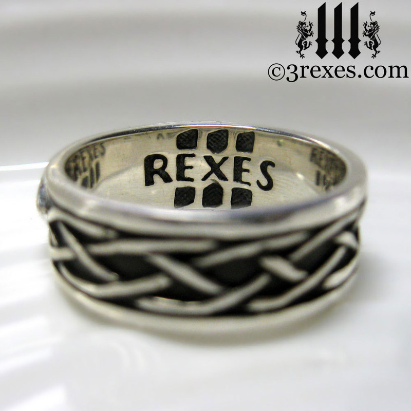 925 sterling silver celtic knot soul ring inscribed 3 rexes mens medieval wedding ring