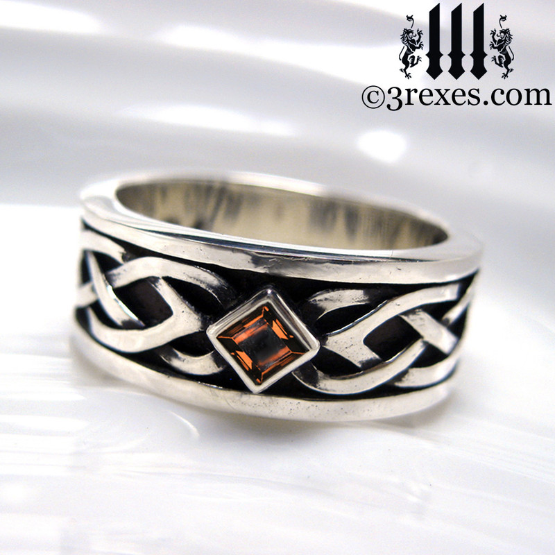 mens celtic knot silver soul ring with light red gothic garnet stone mens medieval wedding ring