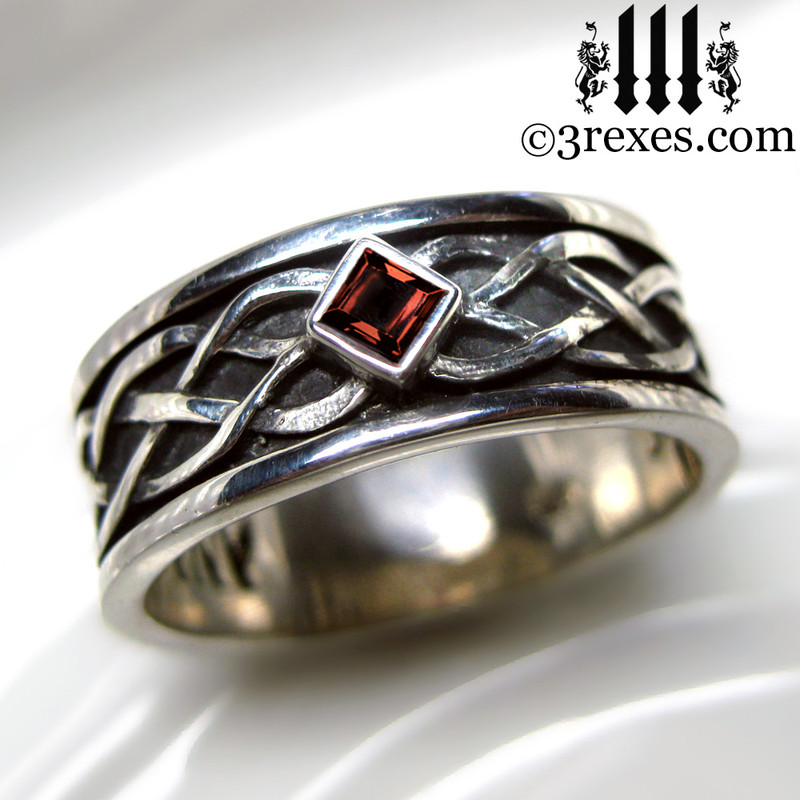 mens celtic knot silver soul ring with red gothic garnet stone mens medieval wedding ring