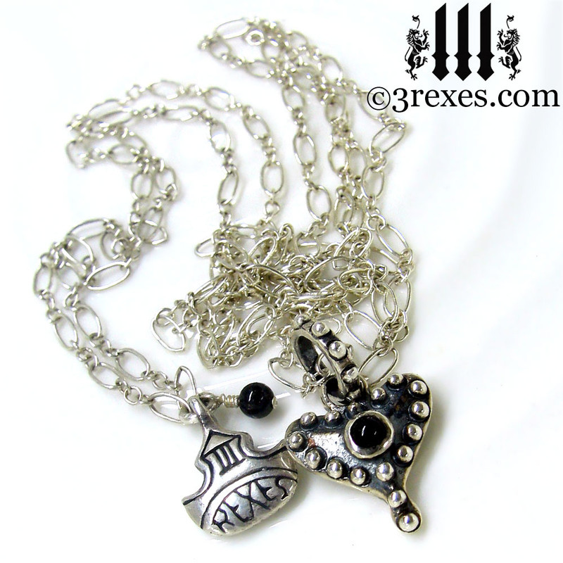 medieval fairy tale silver studded heart necklace with black onyx