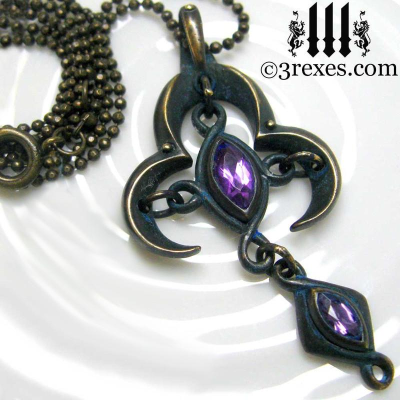 gothic necklace with purple medieval amethyst stone, cross christian jewelry, black pagan pendant, magic dark fairytale, royal wedding