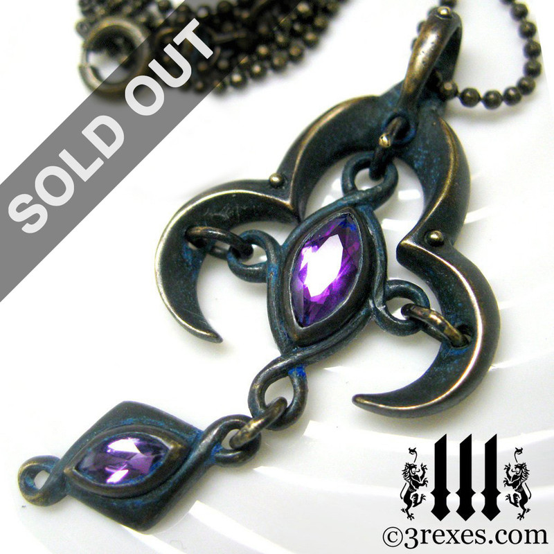 antique gothic bronze necklace with purple medieval amethyst stone, cross christian jewelry, black pagan pendant, magic dark fairytale, royal wedding