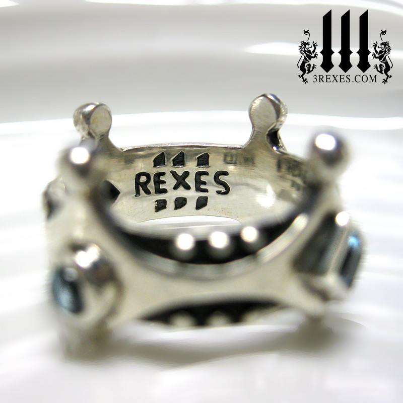 brandy wine medieval crown ring .925 sterling silver