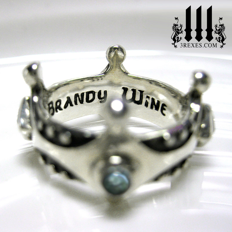 brandy wine medieval crown ring inscribed .925 sterling silver, blue topaz stone, alt wedding rings