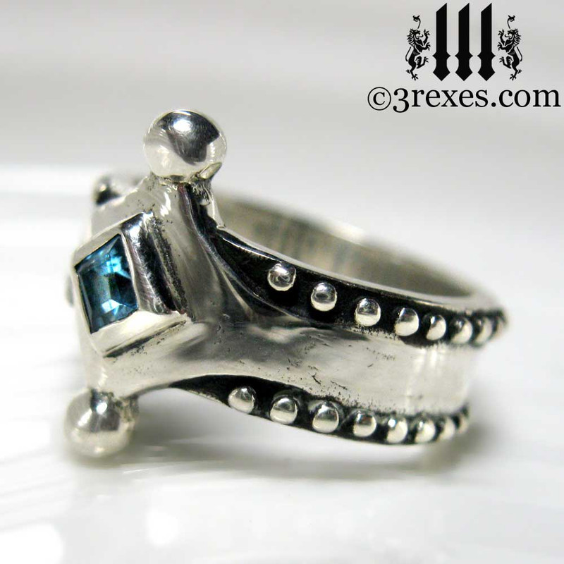 the majestic medieval ring 925 sterling silver gothic blue topaz side view