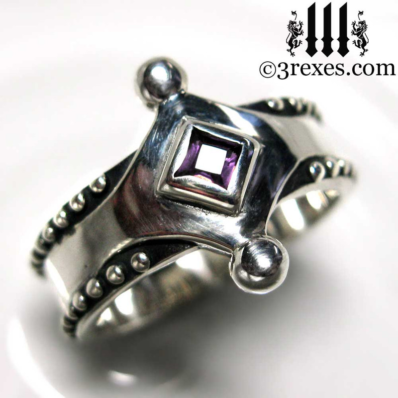 the majestic medieval ring 925 sterling silver purple amethyst
