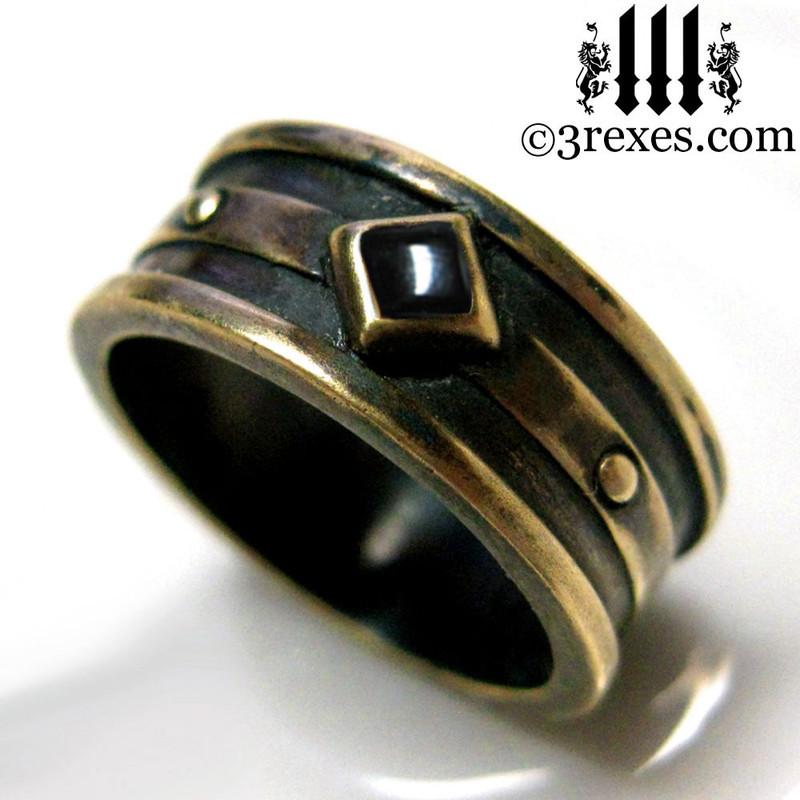 mens alt wedding ring, Bronze Moorish Gothic 1 Stone band Black Onyx stone