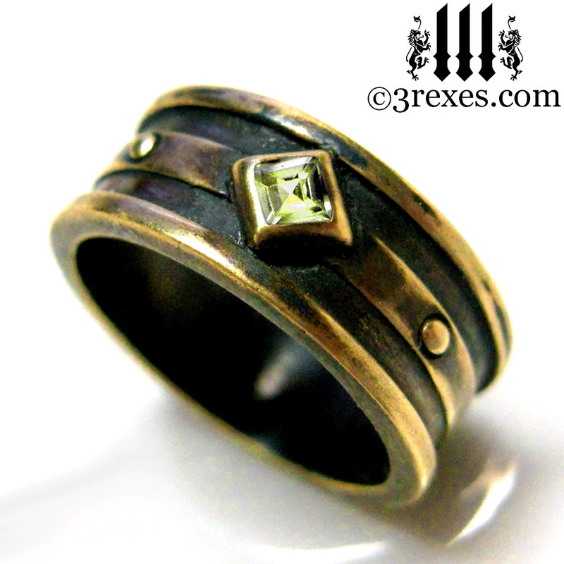 men's alt wedding ring, dark metal band with green stone