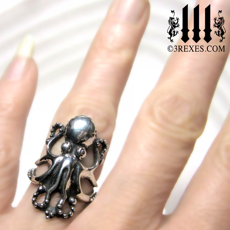 the silver enchanted octopus ring model view