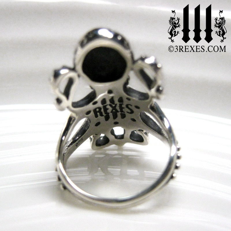 the silver enchanted octopus ring back view