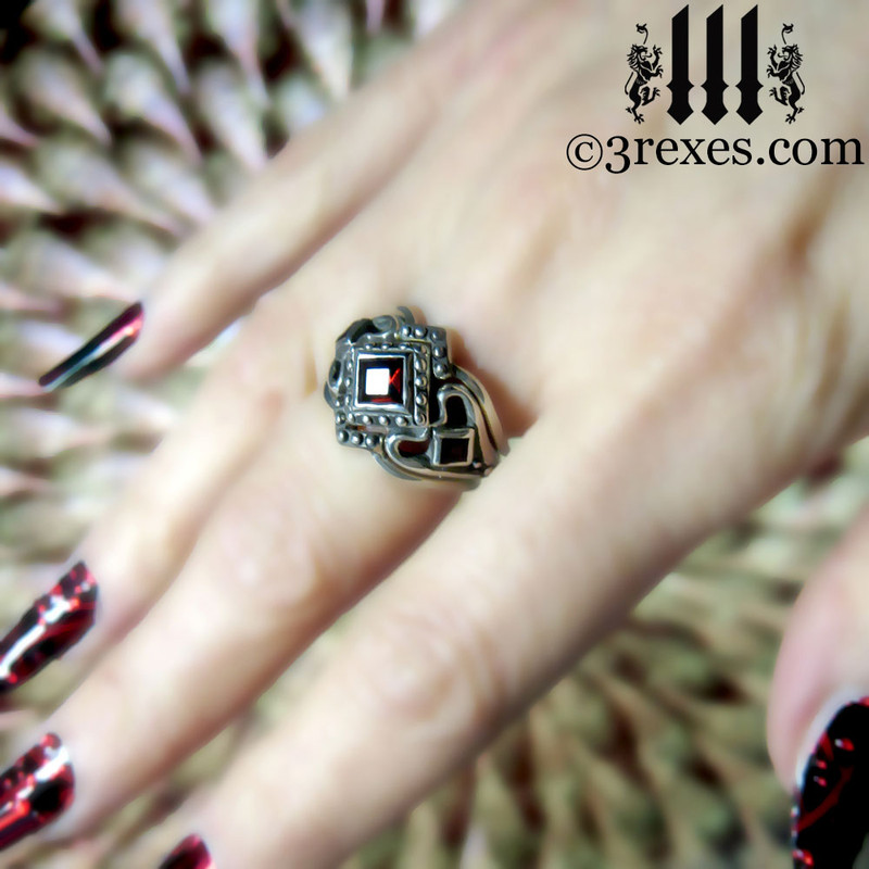 goth womans gothic engagement ring with garnet and 2 stacking v rings ladies medieval wedding band with black onyx stones silver princess love ring, vampire promise bands for alt ceremony