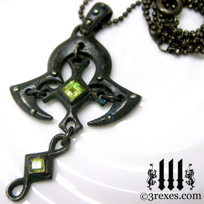 moorish princess dark brass cross necklace with gothic green peridot