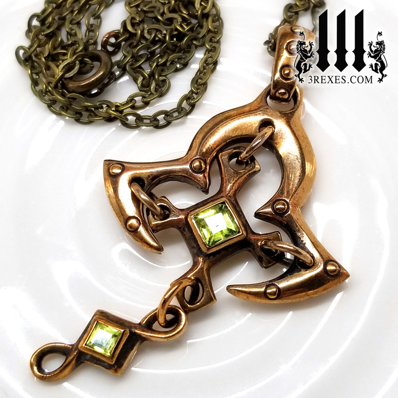 Bronze Moorish Princess Cross Necklace | Historic Gothic Pendant with green peridot Semi Precious Stones. and box chain choker