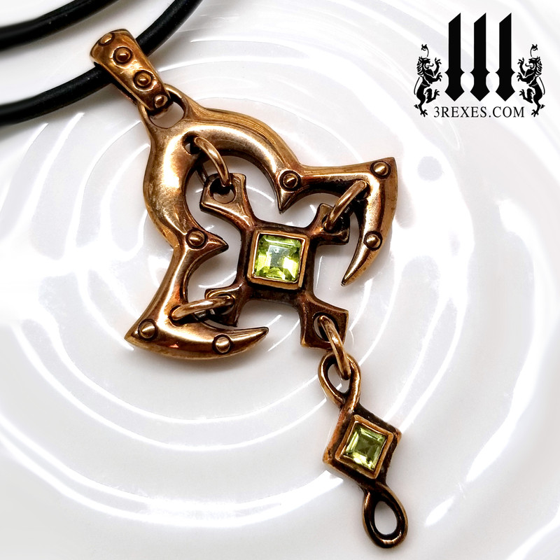 Bronze Moorish Princess Cross Necklace | Historic Gothic Pendant with green peridot Semi Precious Stones. and rubber chain choker