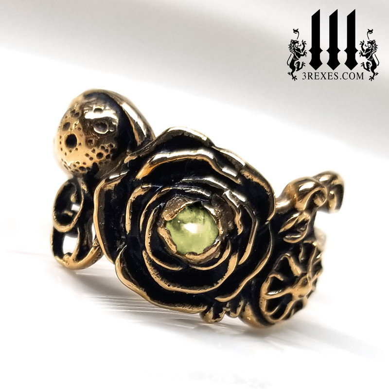 bronze full moon ring , rose ring, flower ring, sun ring with green peridot stone, gothic jewelry, fantasy designs, front view, august birthstone ring