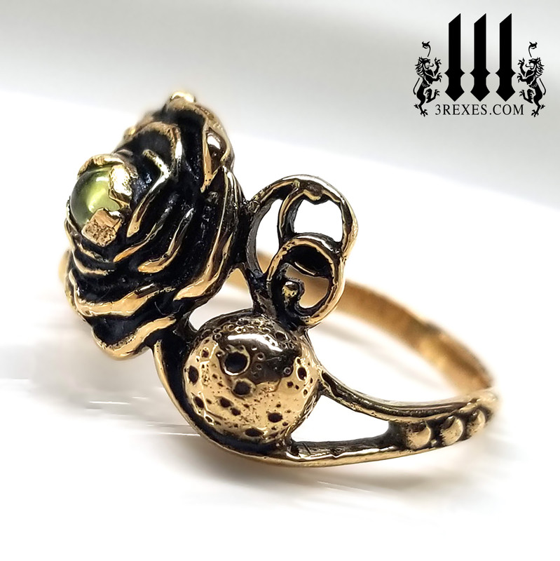 bronze full moon ring , rose ring, flower ring, sun ring with green peridot stone, gothic jewelry, fantasy designs, august birthstone ring