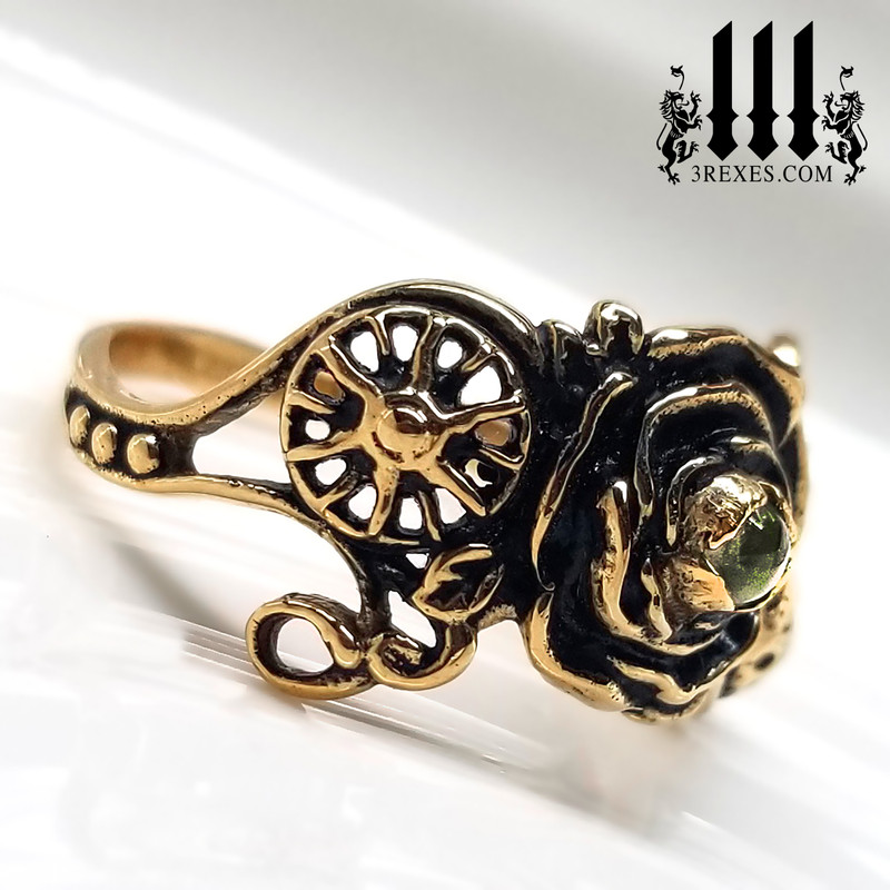 bronze full moon ring , rose ring, flower ring, sun ring with green peridot stone, gothic jewelry, fantasy designs, solar view, august birthstone ring