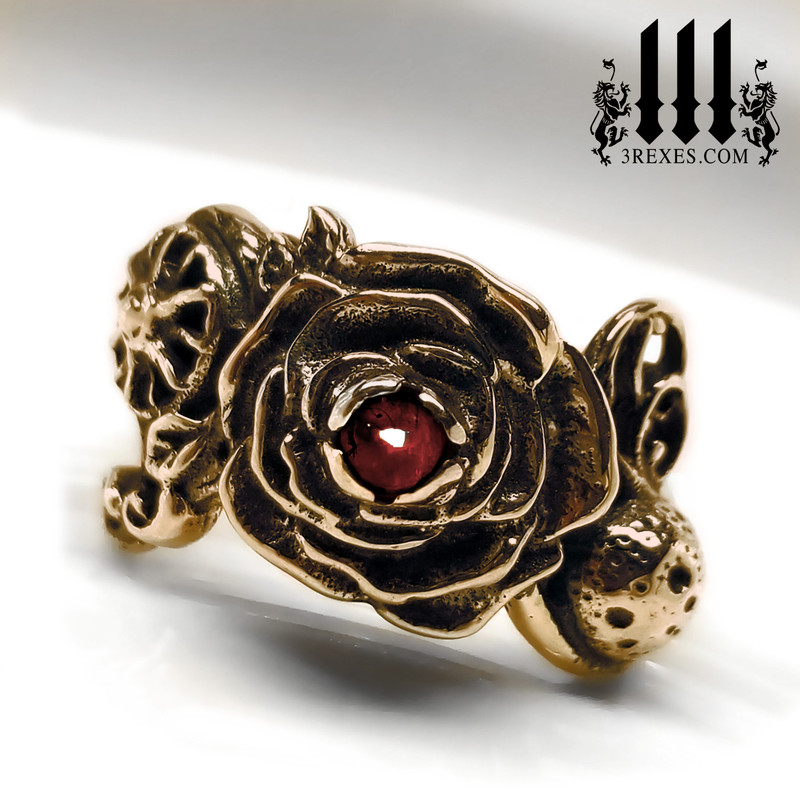 bronze full moon ring , rose ring, flower ring, sun ring with garnet stone, gothic jewelry, fantasy designs front view