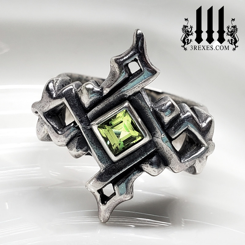 Cathedral Gothic Silver Ring with Green Peridot stone, Royal Wedding Ring for alternative couple, alt unique lgbtq