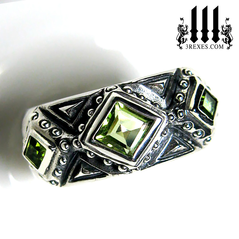 mens kings ring with green peridot stones .925 sterling silver 3 kings band ring, Medieval engagement  crown, dark ages jewelry, pagan ring, wicca, christian, middle ages, history, historical, spiritual, 3 rexes jewelry, knights templar jewellery