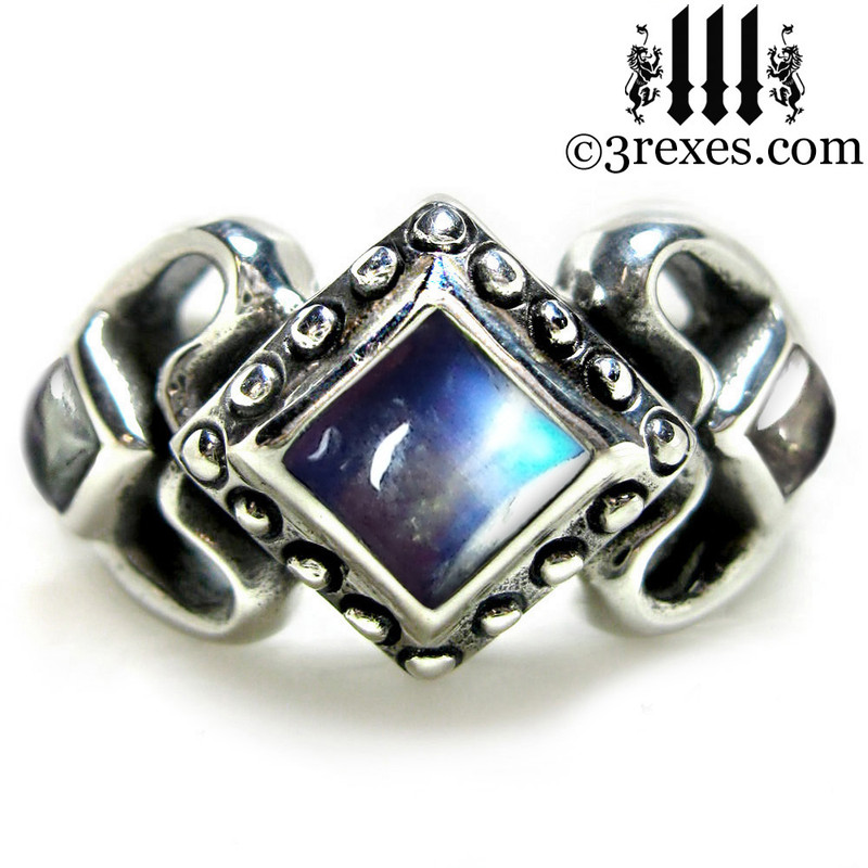 ladies gothic wedding ring womans medieval engagement band with moonstone stones silver princess love ring