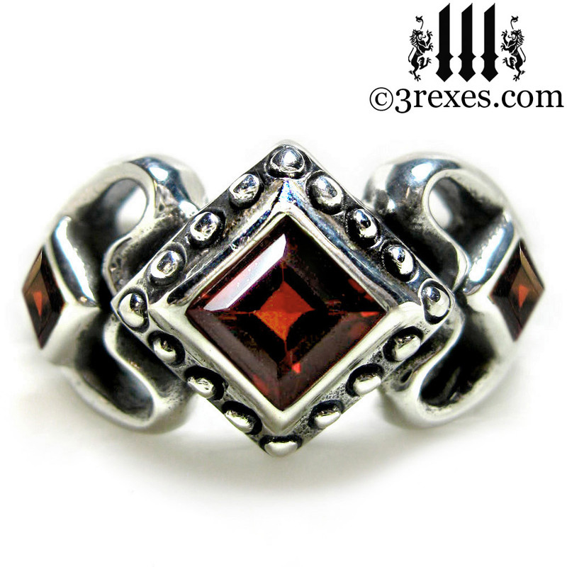 ladies gothic wedding ring womans medieval engagement band with garnet stones silver princess love ring