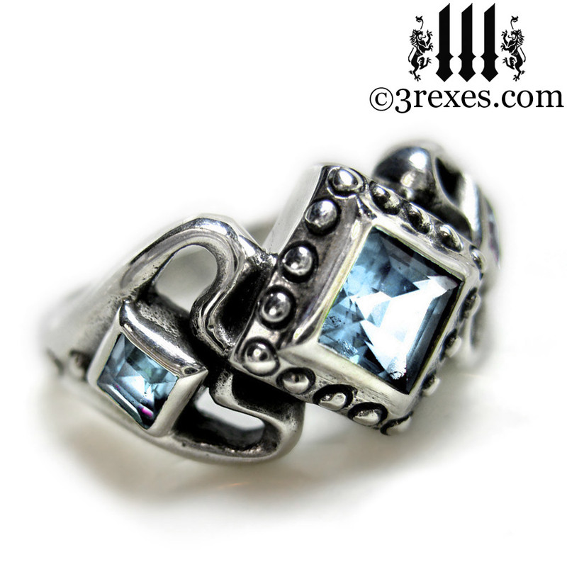 ladies gothic wedding ring womans medieval engagement band with light blue topaz stones silver princess love ring