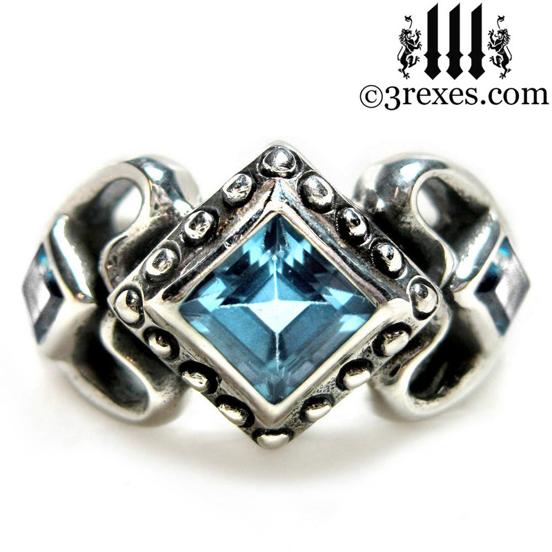 ladies gothic wedding ring womans medieval engagement band with blue topaz silver princess love ring a gift for her