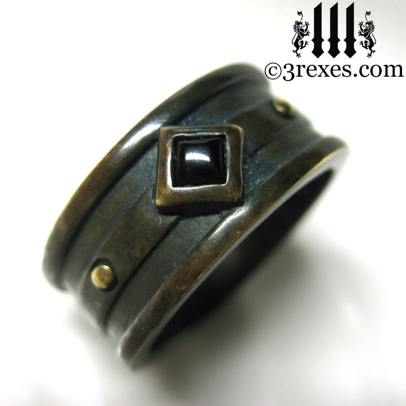 dark brass moorish gothic ring with black onyx