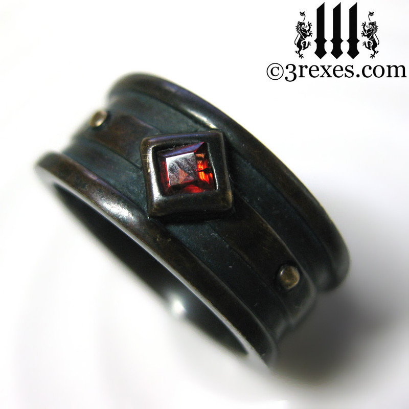 dark brass moorish gothic ring with garnet