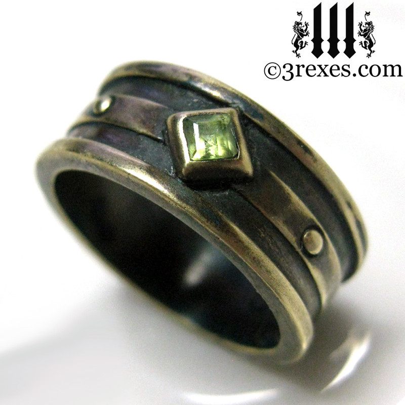 dark brass moorish gothic ring with green peridot