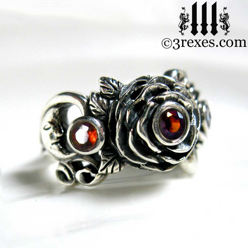gothic silver rose moon spider ring with garnet faceted stone womans wedding ring