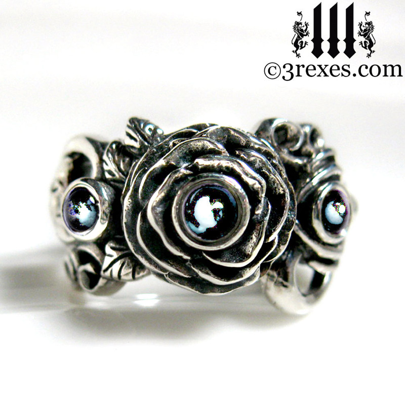gothic silver rose moon spider ring with blue topaz cabochon stone womans wedding ring