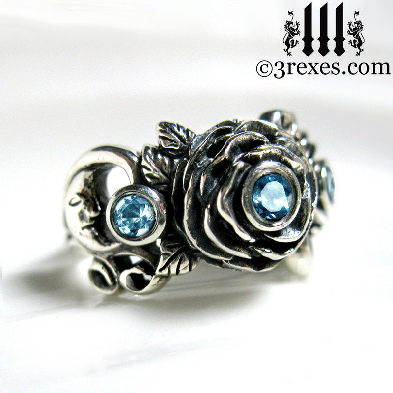 gothic silver rose moon spider ring with blue topaz faceted stone womans wedding ring