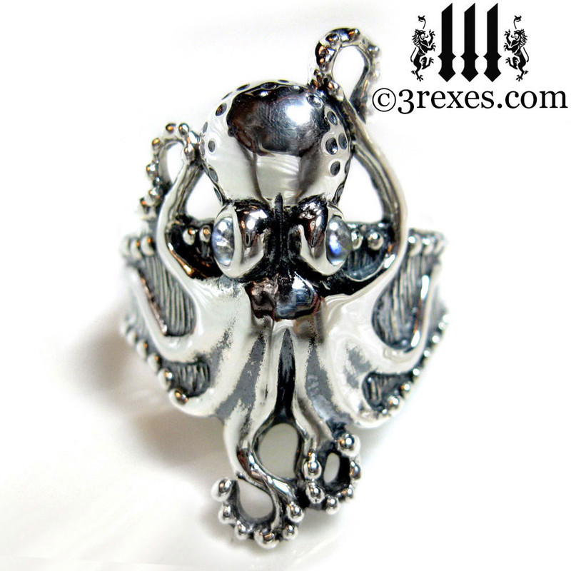 silver octopus ring with magic moonstone eyes