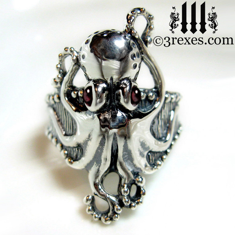 silver octopus ring with garnet cabochon eyes .925 sterling steampunk steam punk jewelry 3 rexes