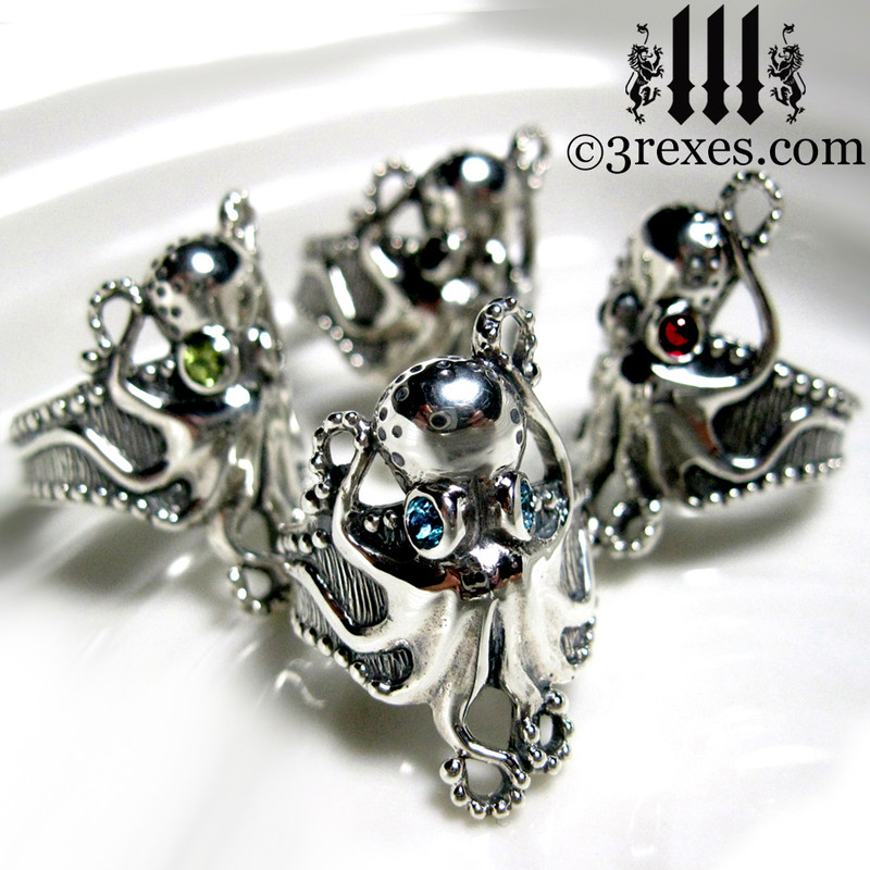 silver octopus dream rings