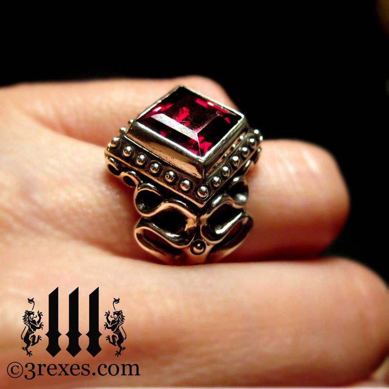 vampire gothic wedding ring with garnet, sterling silver designer jewelry for alternative lifestyles
