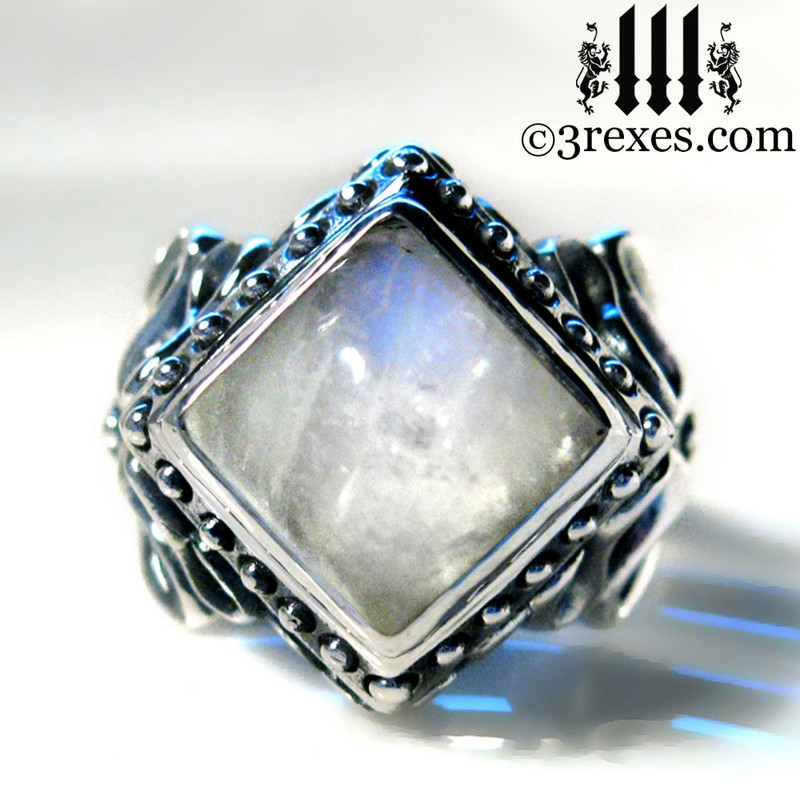 moonstone magic ring, sterling silver band rings, fairytale jewellery for unique gift. womens pagan promise ring