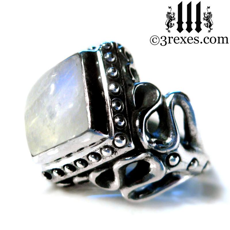 silver moonstone ring side detail, art nouveau designer wedding band for ladies, alt jewelry