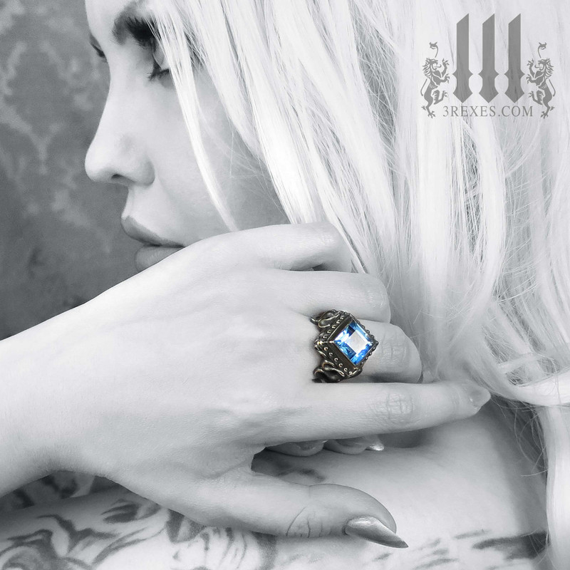 gothic wedding rings for women, raven love ring, blue topaz stone .925 sterling silver, fairytale ring, goth model, alt jewelry, alternative engagement