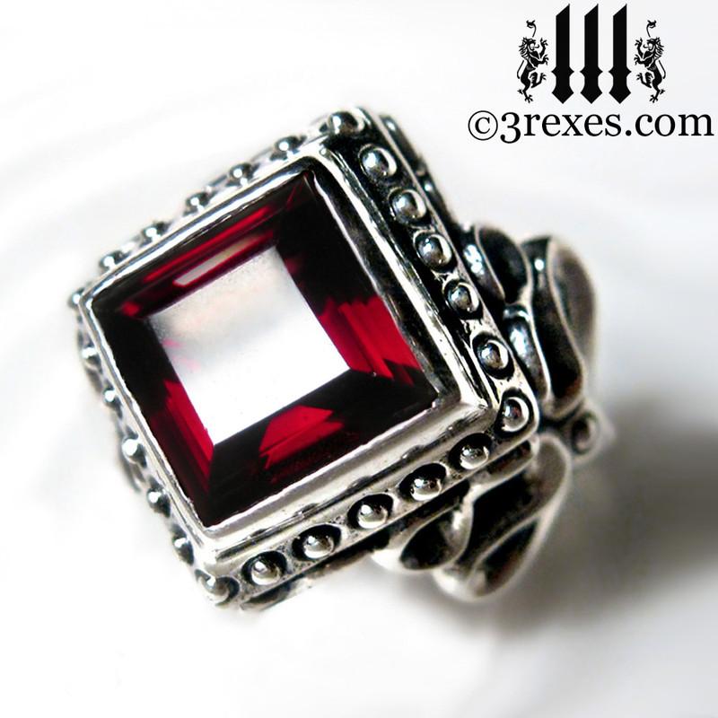 vampire wedding ring with garnet stone, sterling silver band, alt alternative jewelry