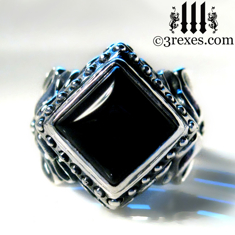 gothic wedding ring with black onyx cabochon