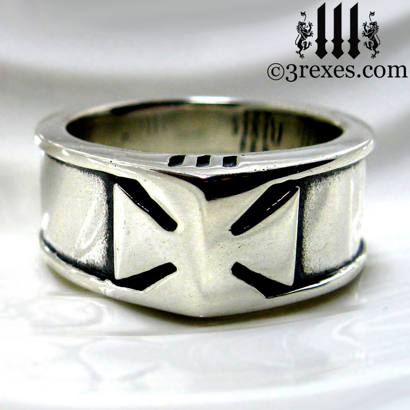 mens iron cross ring, knights templar masonic wedding band, biker jewelry, historic ring, royal kings ring, .925 sterling silver