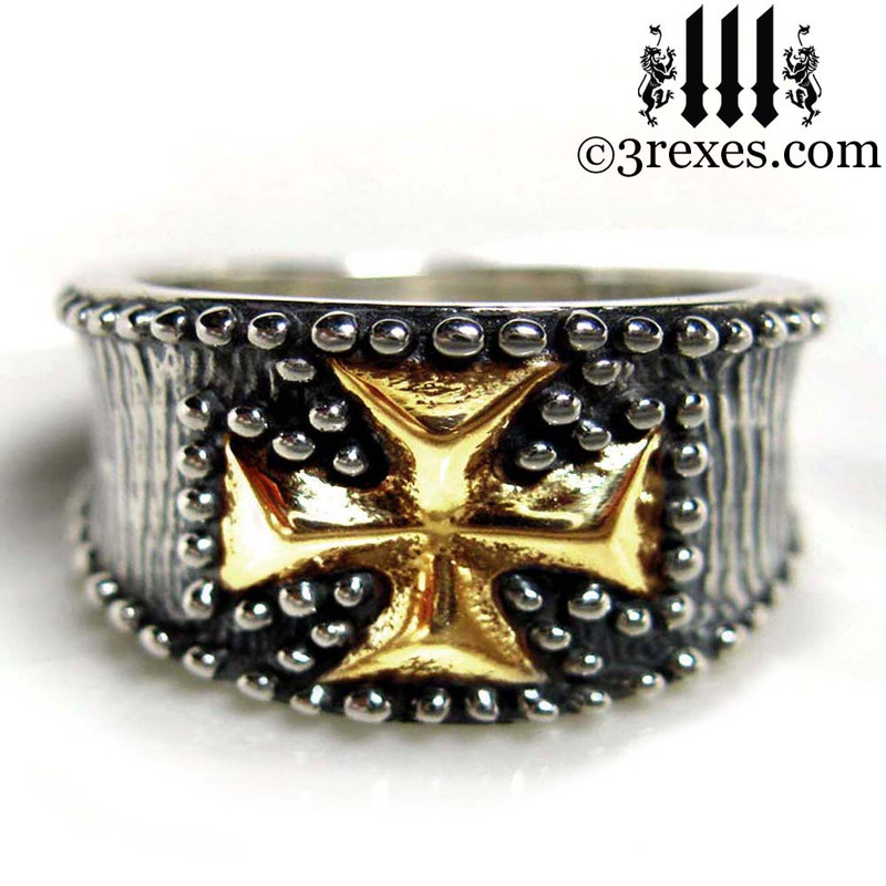 mens medieval iron cross ring .925 sterling silver with gold cross knights templar masonic jewelry christian