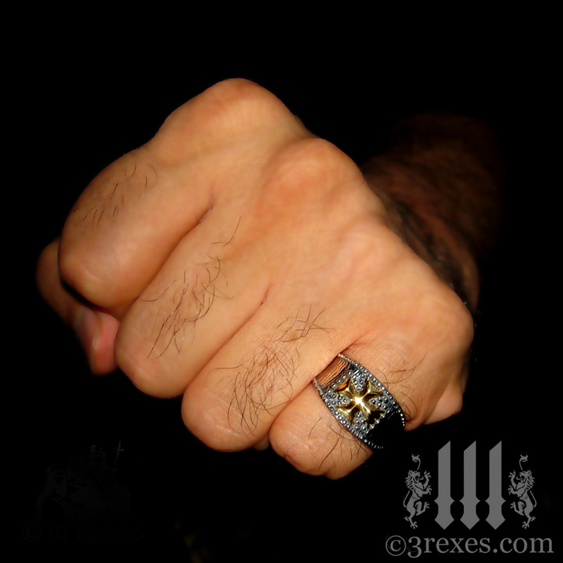 mens medieval iron cross ring .925 sterling silver with gold cross knights templar masonic jewelry christian model fist